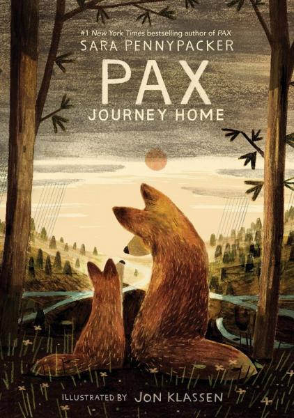 Pax Journey Home Book Cover - Fox and kit with backs turned facing turned toward moon and forest.